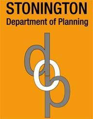 """Planning Department Logo showing intertwined letters 'd-o-p"""" and words """"Stonington Dept of Planning"""""""